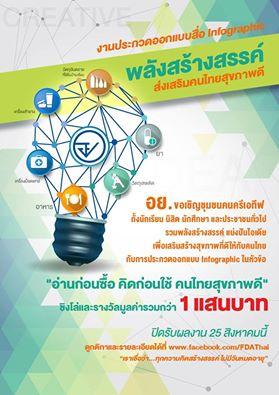 """ประกวดออกแบบ Infographic """"พลังสร้างสรรค์ ส่งเสริมคนไทยสุขภาพดี"""""""